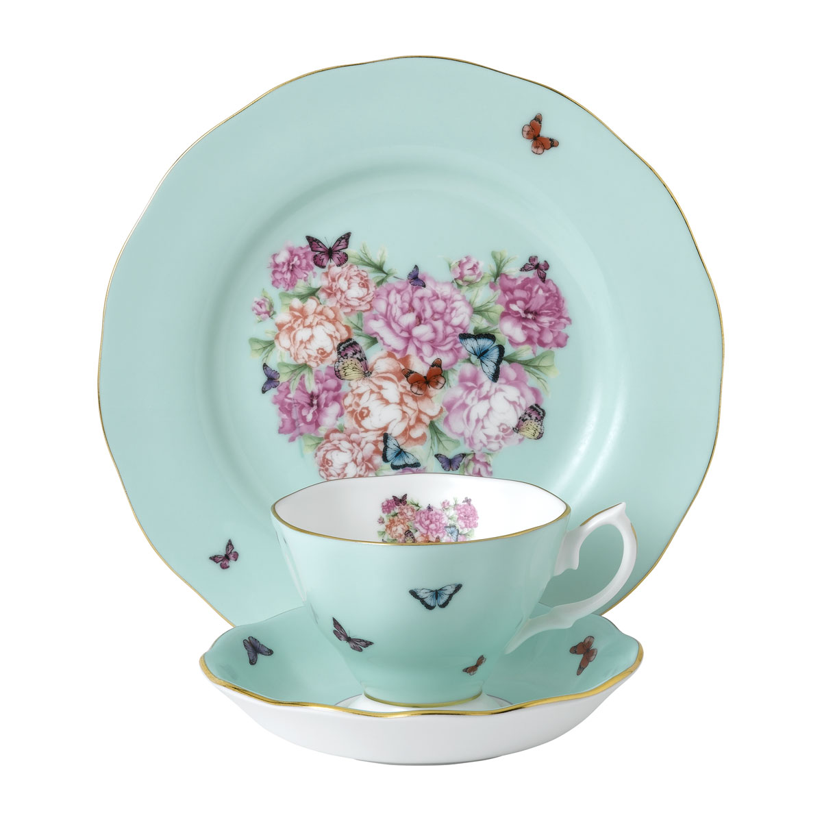 "Royal Albert Miranda Kerr Friendship 3pc Set Teacup, Saucer and Plate 8"" Tranquility, Blue"