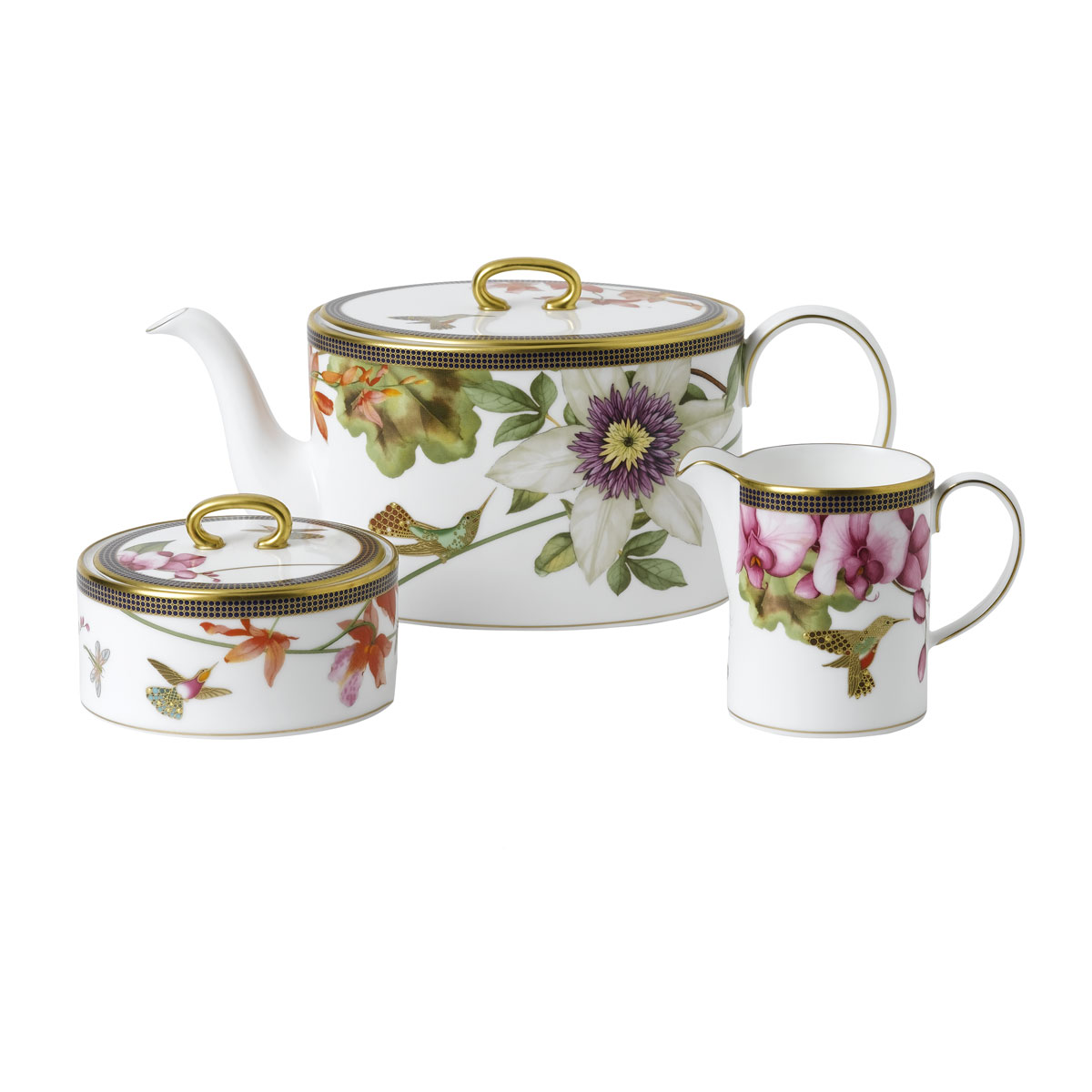 Wedgwood Hummingbird 3-Piece Tea Set (Teapot, Sugar and Creamer)