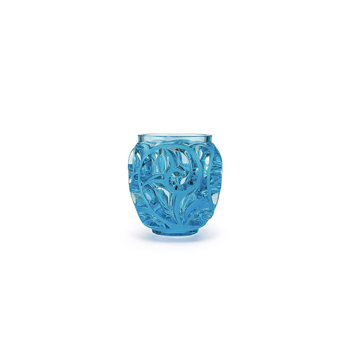 Lalique Crystal, Tourbillons Small Crystal Vase, Pale Blue