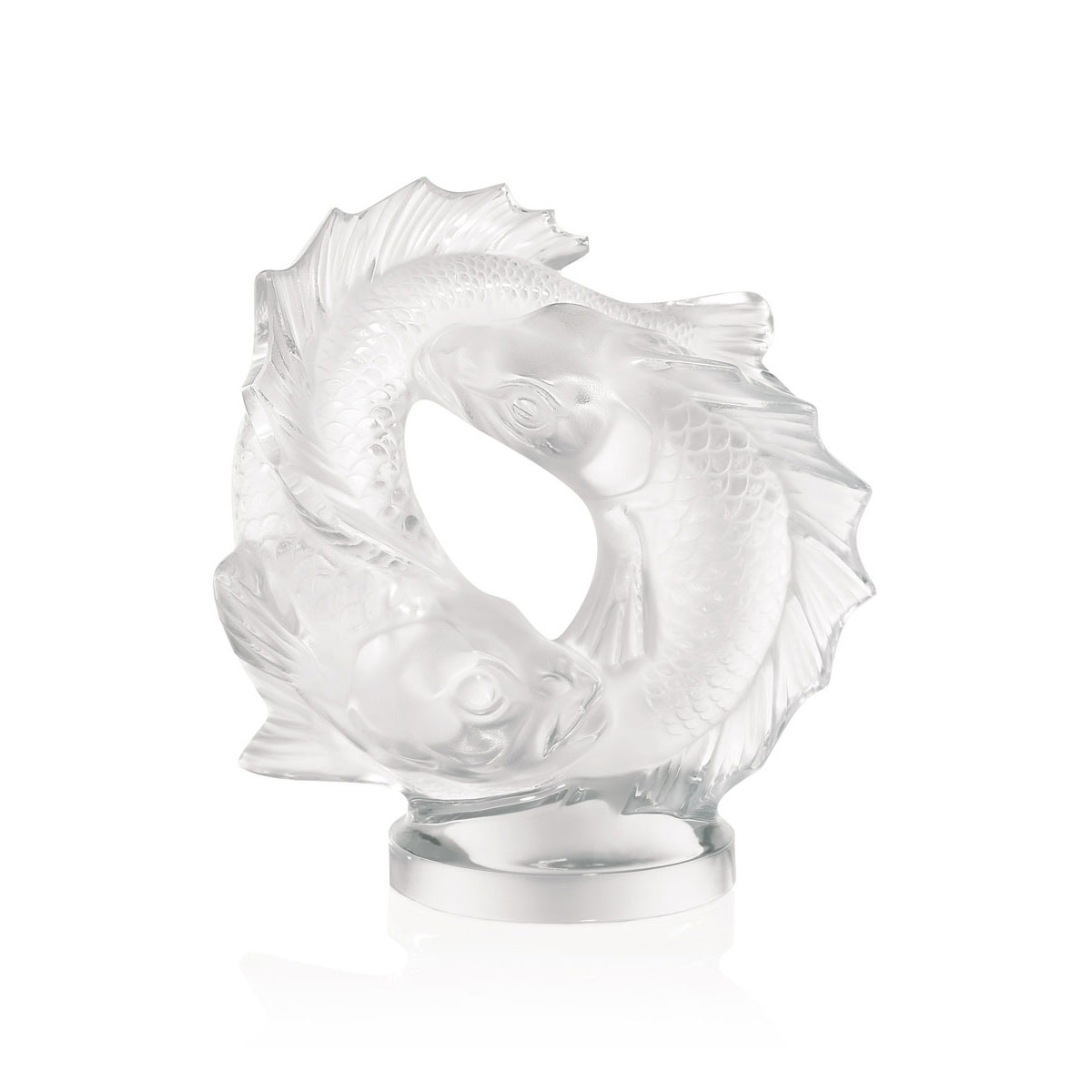 Lalique Crystal, Double Fish Sculpture, Clear