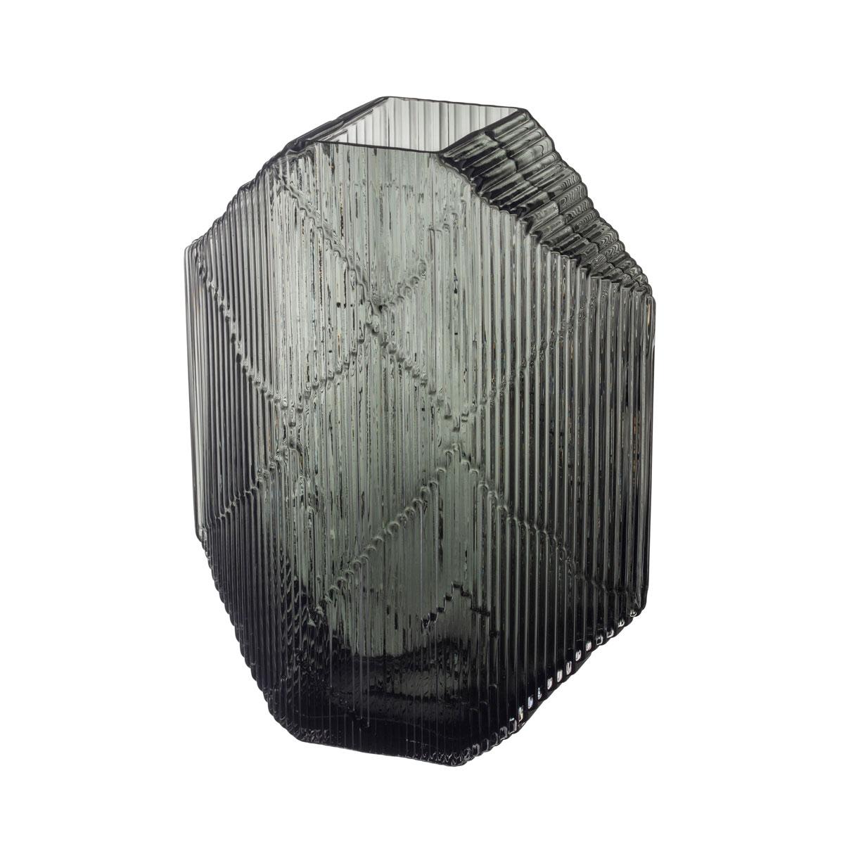 "Iittala Kartta Glass Sculpture 12.5"" Dark Grey"