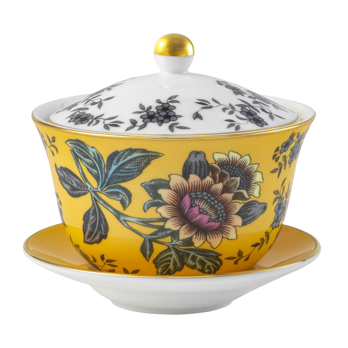 Wedgwood Wonderlust Lidded Bowl Yellow Tonquin