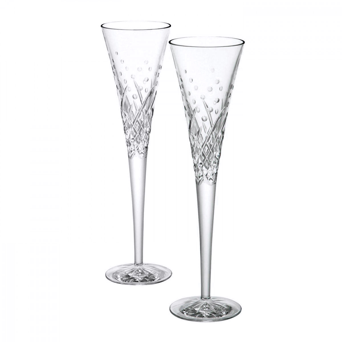Waterford Crystal, Wishes Happy Celebrations Flutes, Pair
