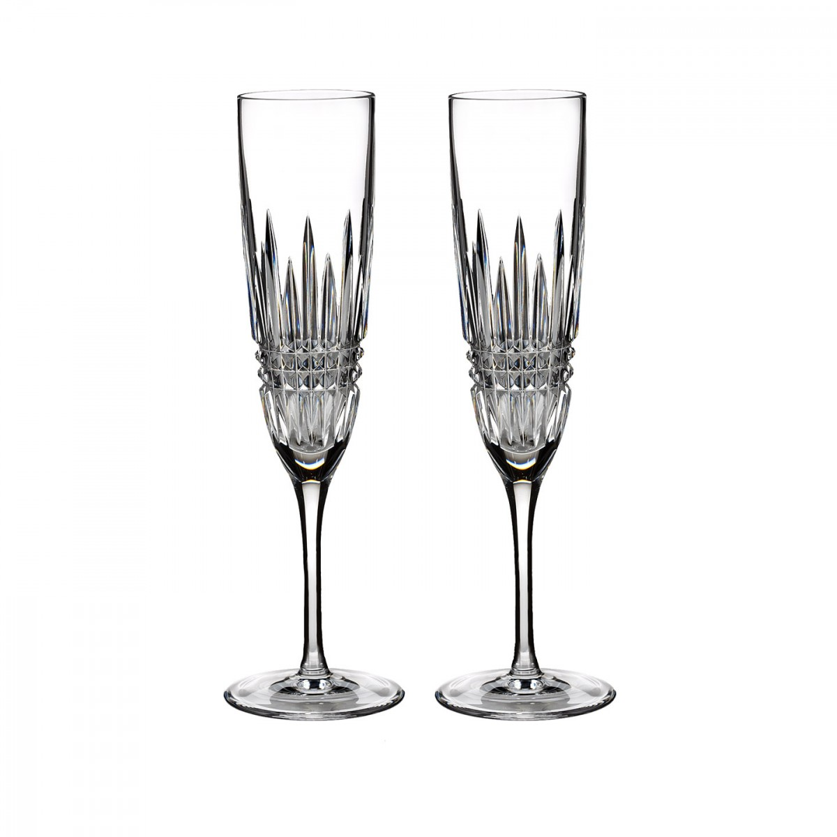 Waterford Lismore Diamond Crystal Flutes, Pair