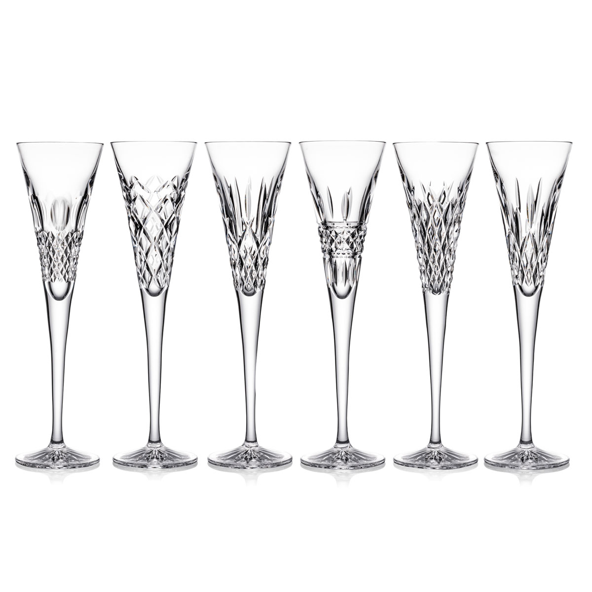 Waterford Heritage Toasting Flutes, Set of Six, Alana, Araglin, Colleen, Irish Lace, Lismore and Powerscourt