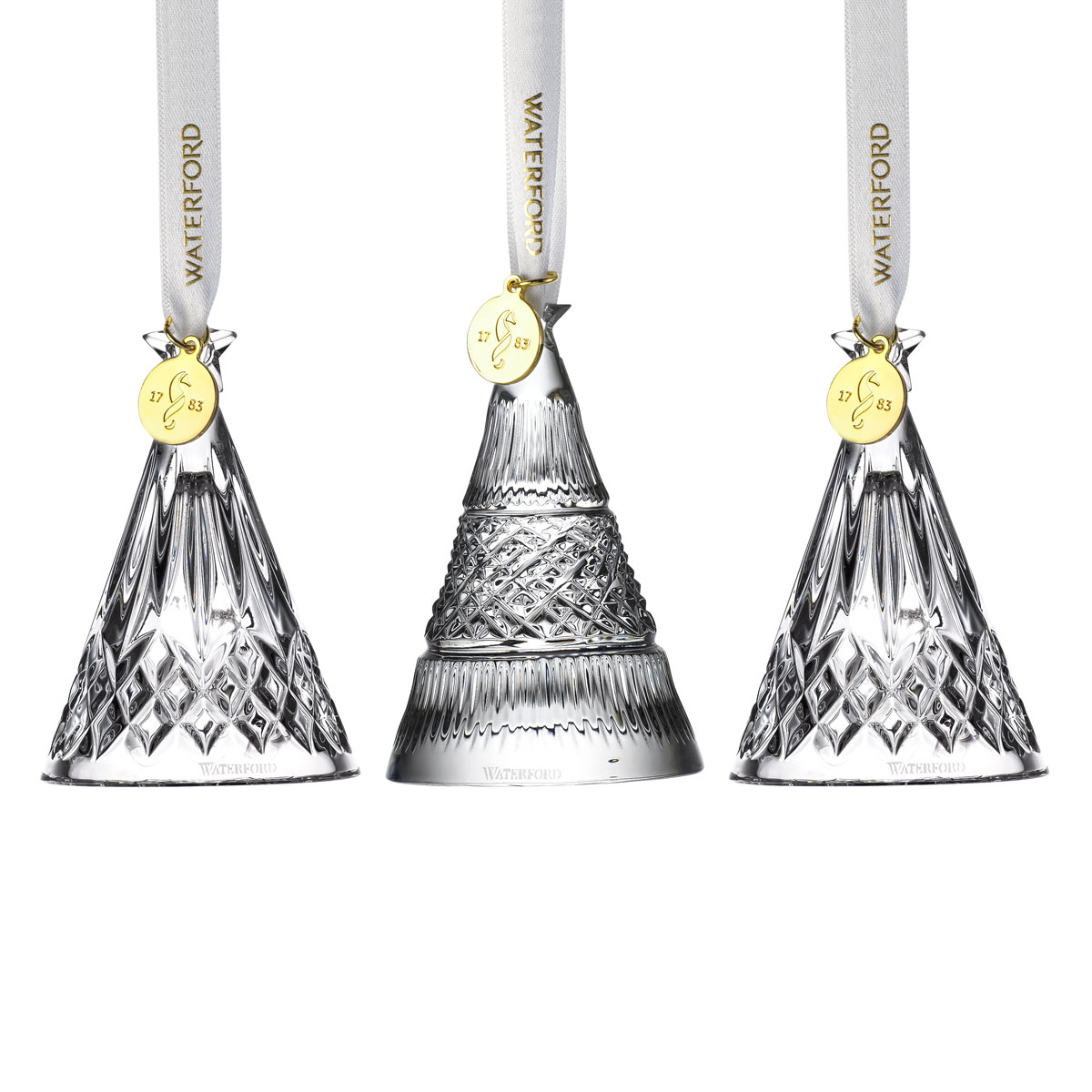 Waterford Crystal 2021 3D Tree Ornaments Set of 3 (Mixed Designs)