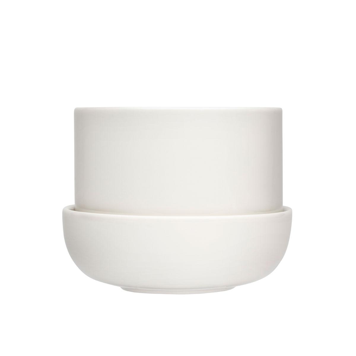 """Iittala Nappula Plant Pot W.Saucer White 6.75"""""""