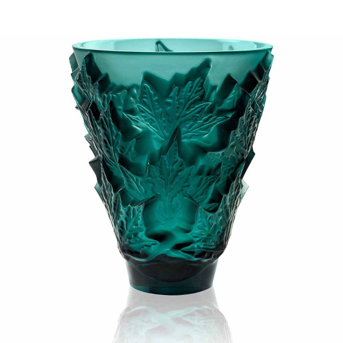 Lalique Crystal, Champs Elysees Small Crystal Vase, Intense Green