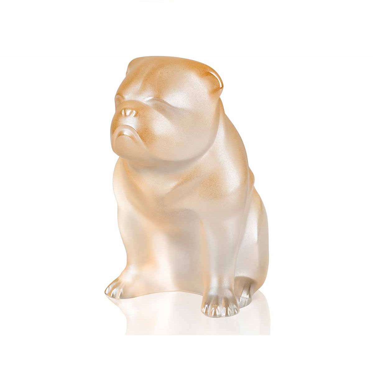 Lalique Crystal, Bulldog Sculpture, Gold Luster