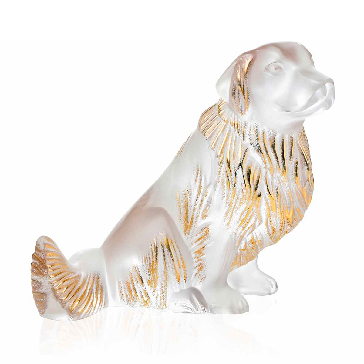 Lalique Golden Retriever Sculpture, Clear and Gold Luster