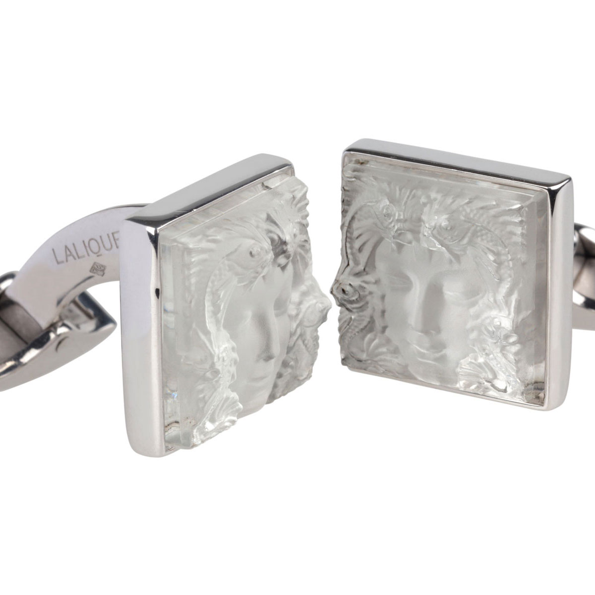 Lalique Crystal, Arethuse Cufflinks Pair, Clear