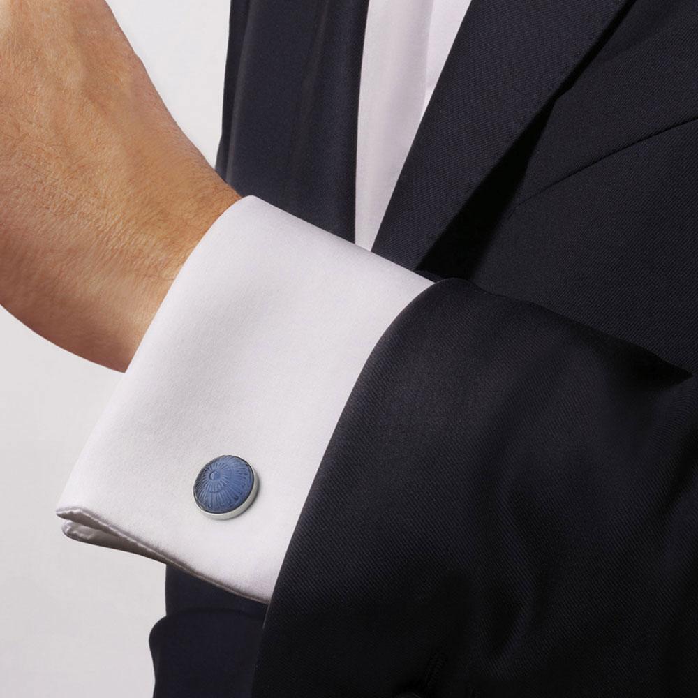 Lalique Crystal Toupie Cufflinks Pair, Sapphire Blue