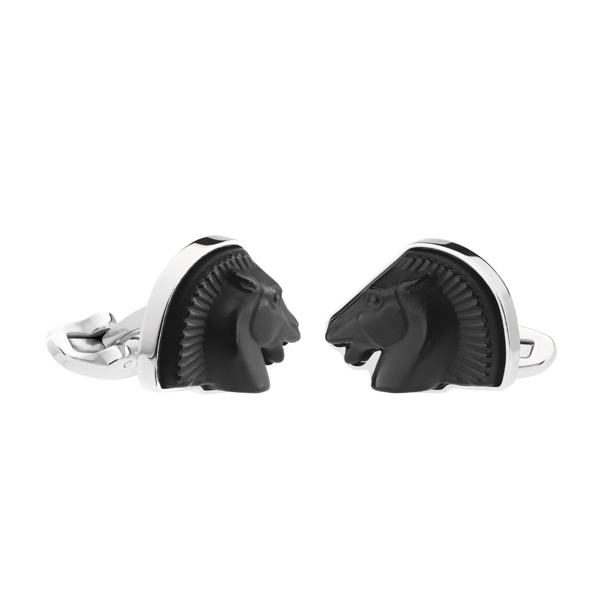 Lalique Crystal Cheval Mascottes Cufflinks Pair, Black