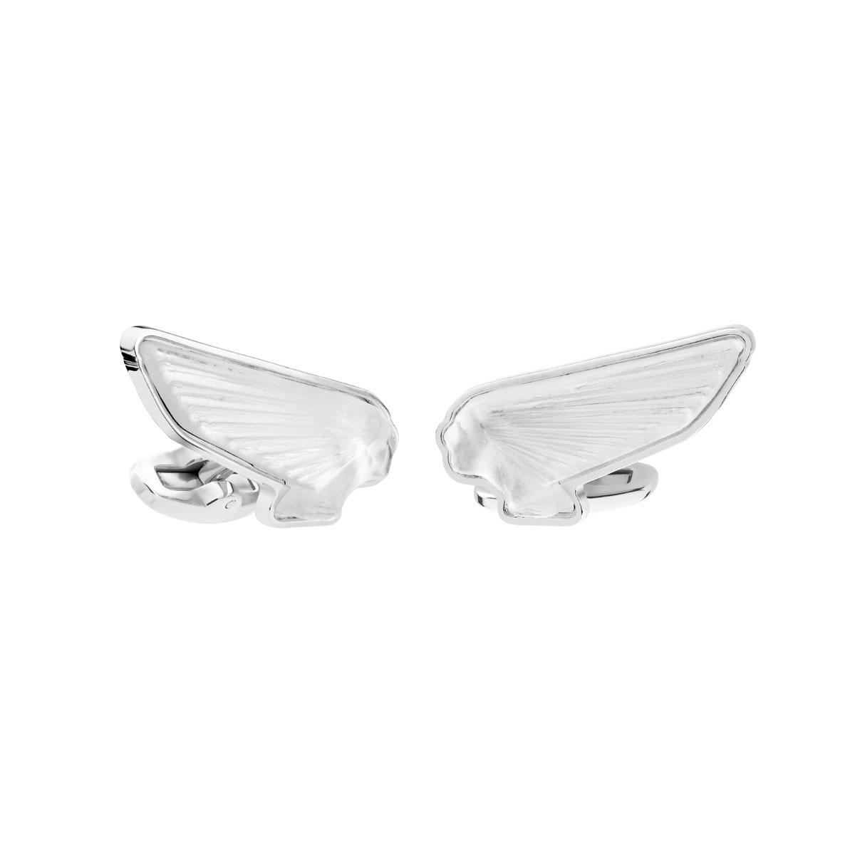 Lalique Victoire Mascottes Cufflinks Pair, Clear