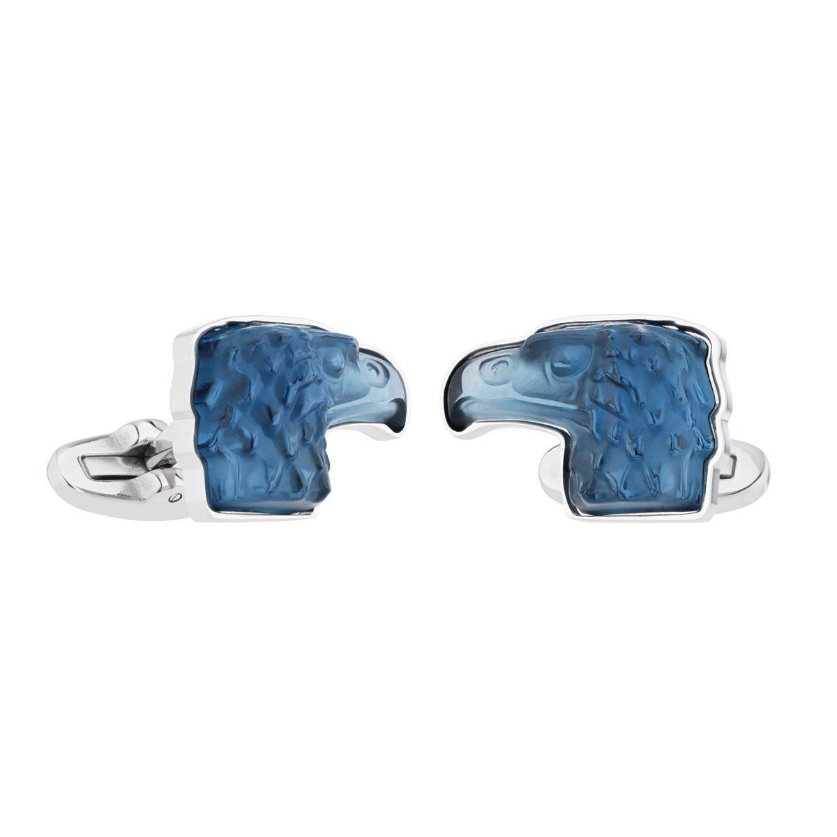 Lalique Crystal Eagle Cufflinks Pair, Sapphire Blue