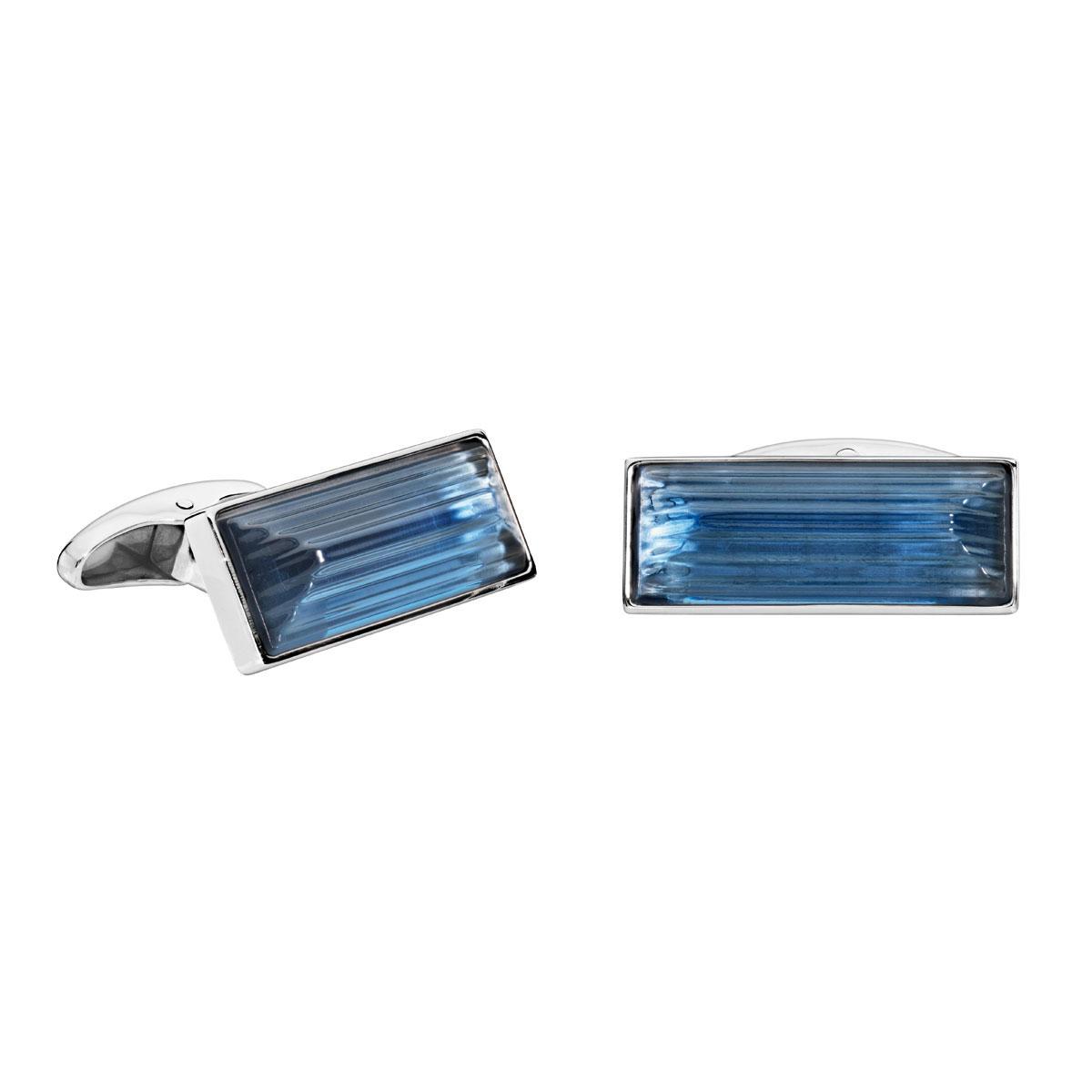 Lalique Crystal Rayonnante Cufflinks Pair, Sapphire Blue