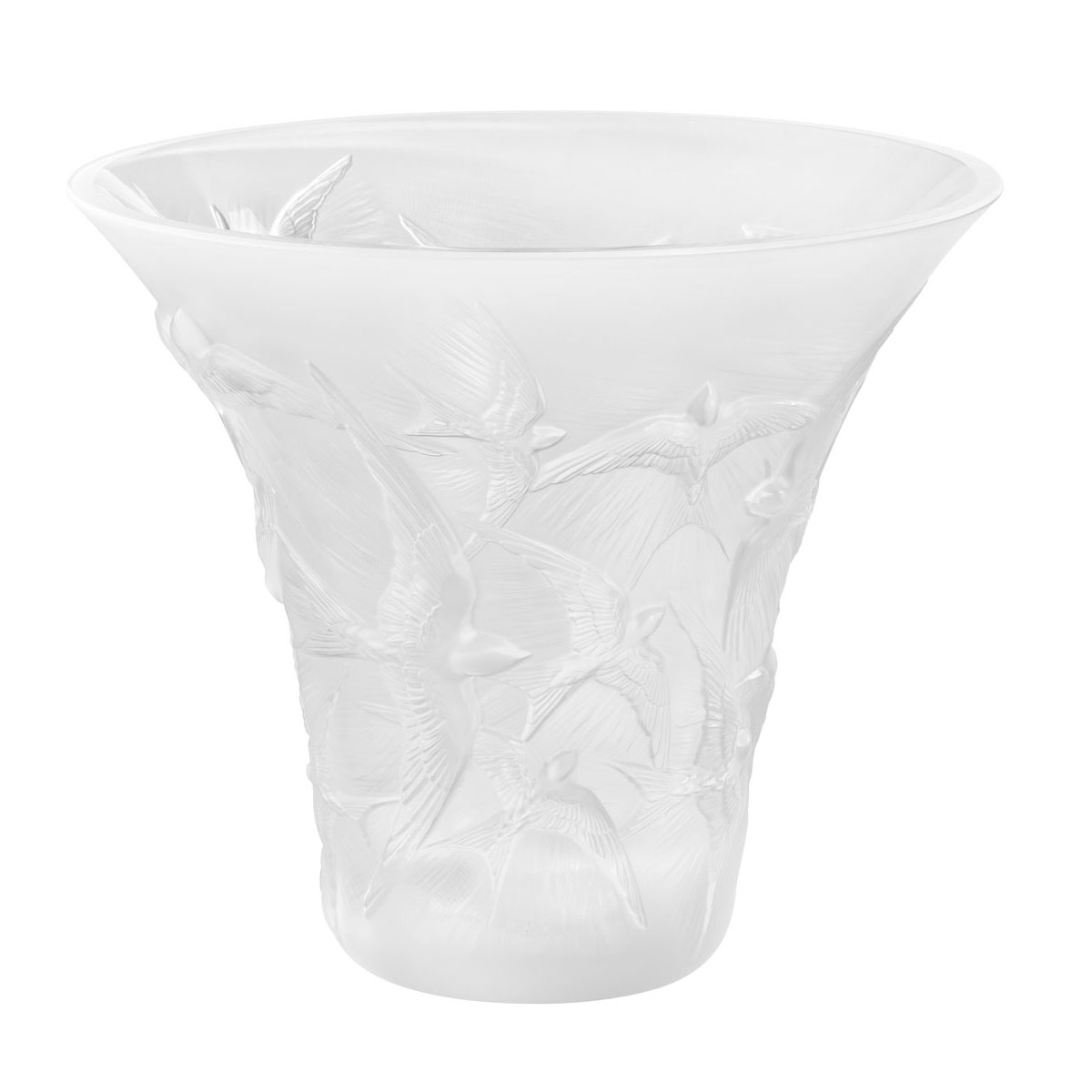 "Lalique Hirondelles 11 1/2"" Flared Vase, Clear"