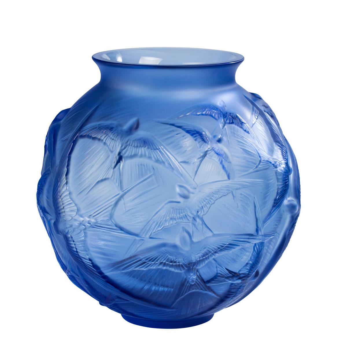 blue decorative vases.htm lalique hirondelles 8 1 2  round vase  sapphire blue crystal  lalique hirondelles 8 1 2  round vase