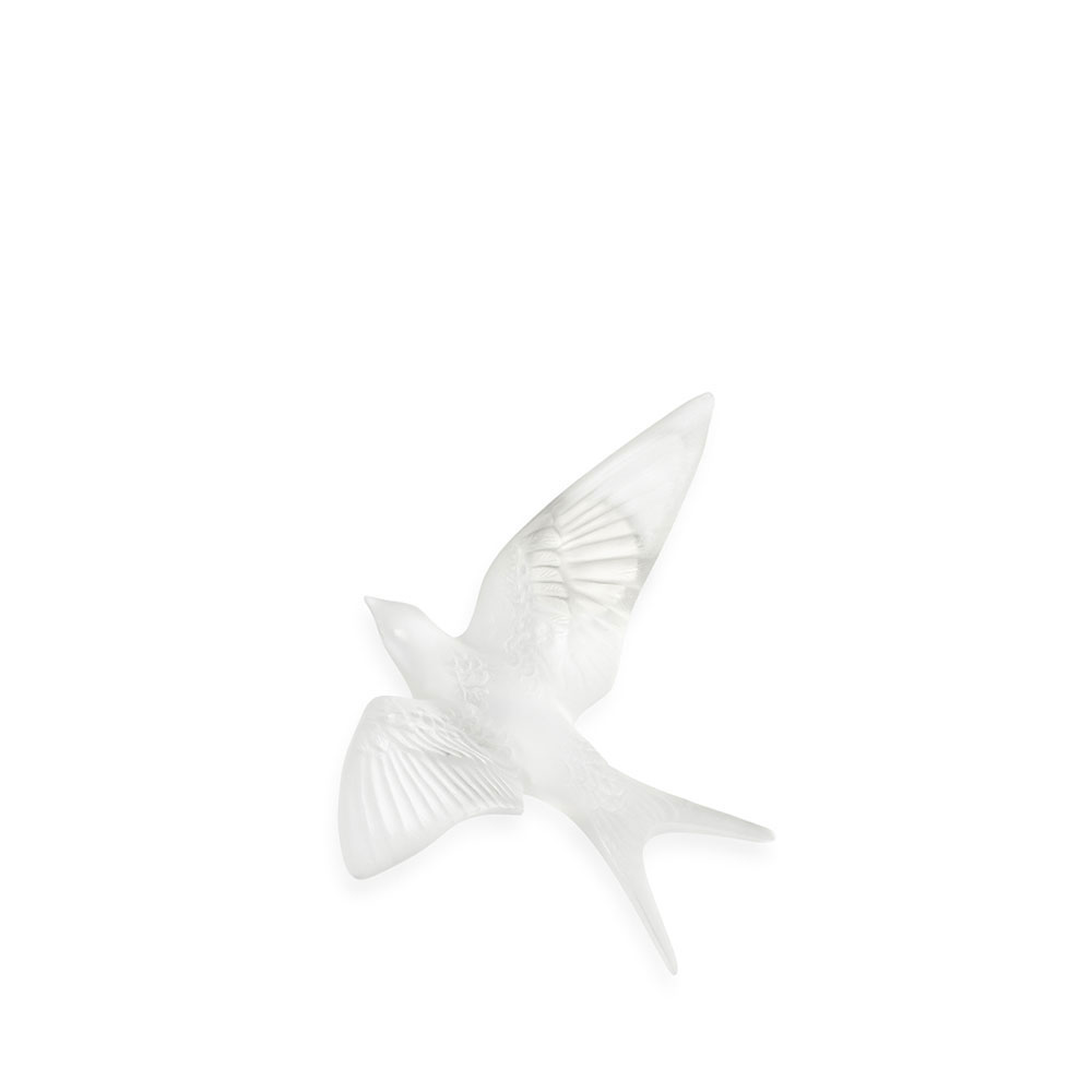 Lalique Crystal Hirondelles, Swallows Wall Sculpture, Clear