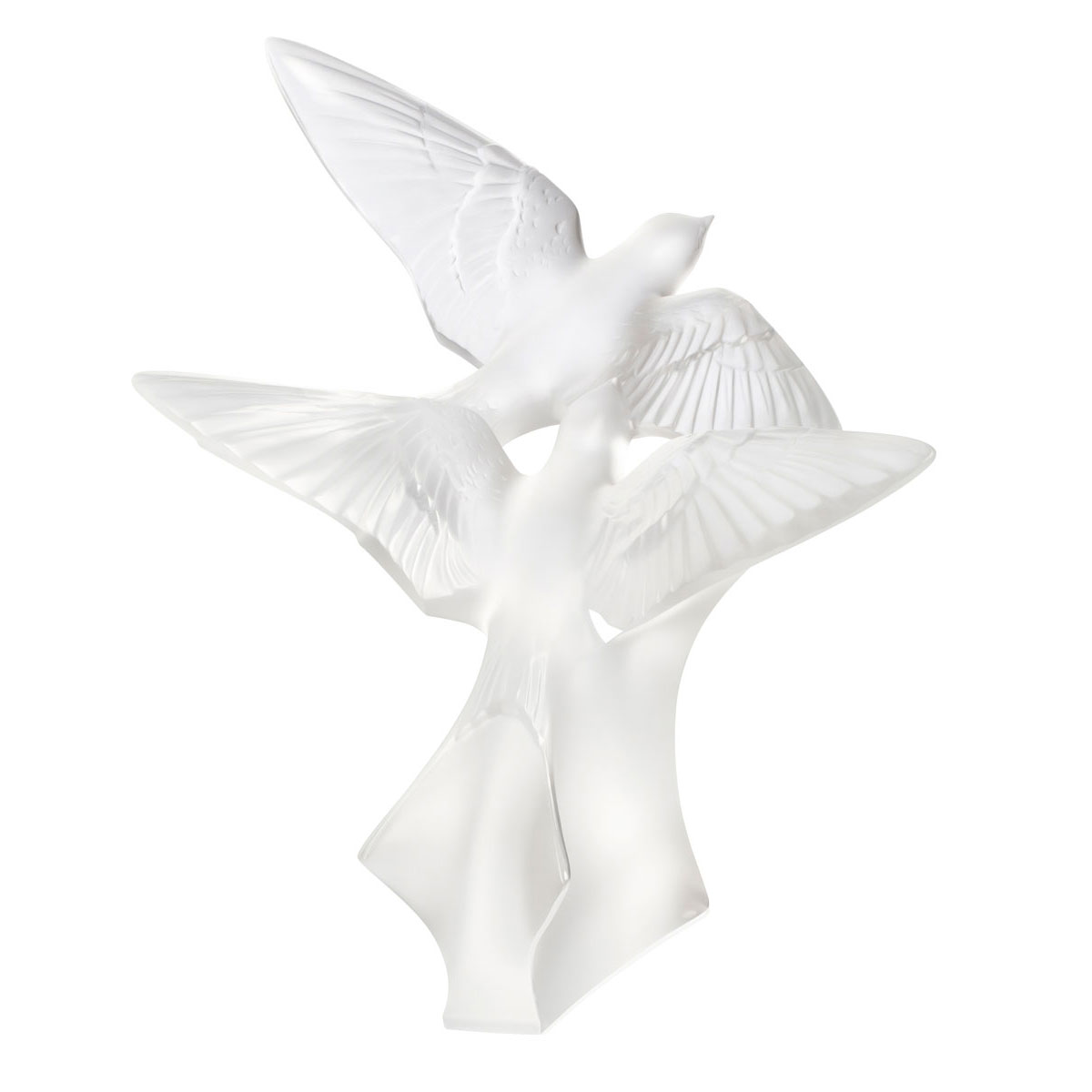 Lalique Crystal Two Swallows Grand Sculpture, Clear
