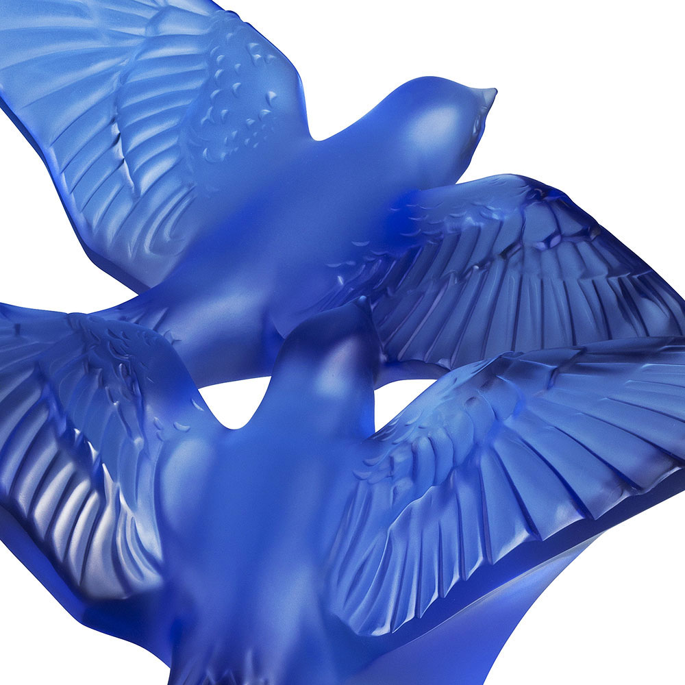Lalique Crystal Two Hirondelles, Swallows Grand Sculpture, Sapphire Blue