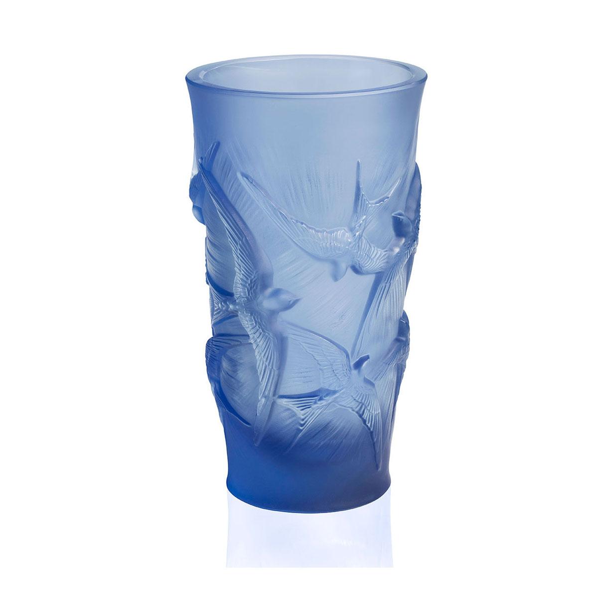 """Lalique Hirondelles, Swallows 6"""" Vase, Sapphire Blue"""