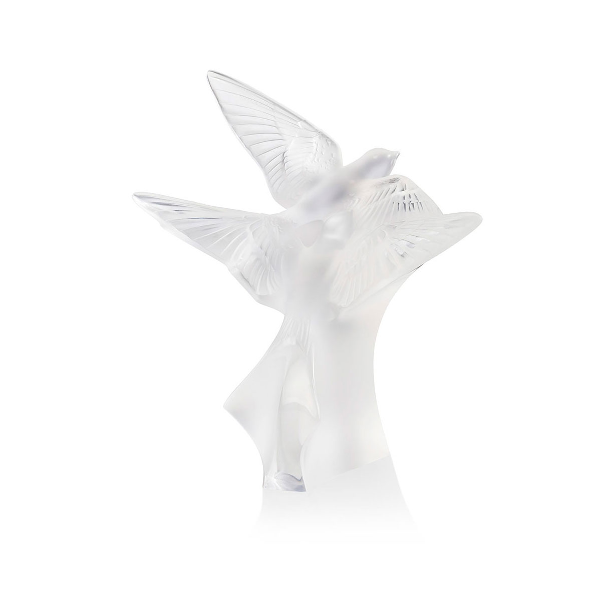 Lalique Two Hirondelles, Swallows Small Sculpture, Clear