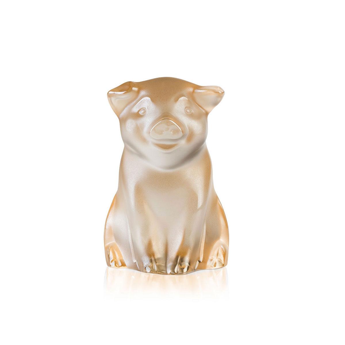 Lalique Cochon, Pig Sculpture, Gold Luster