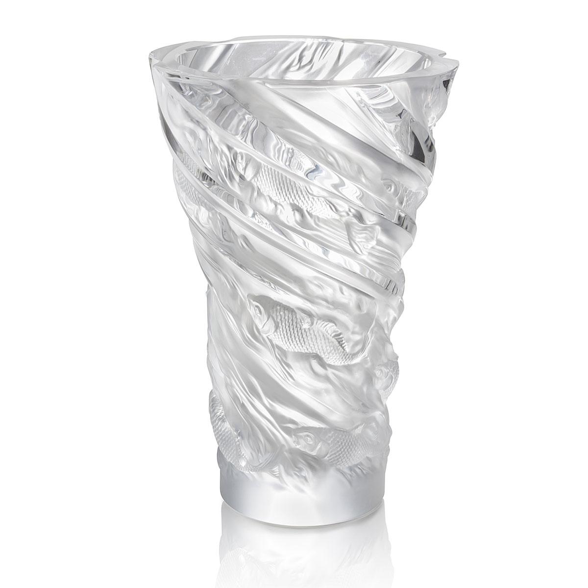 """Lalique Carpes Koi Aquatique 14"""" Vase, Clear"""