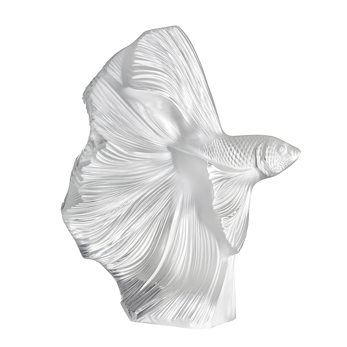 Lalique Fighting Fish Sculpture Aquatique, Clear