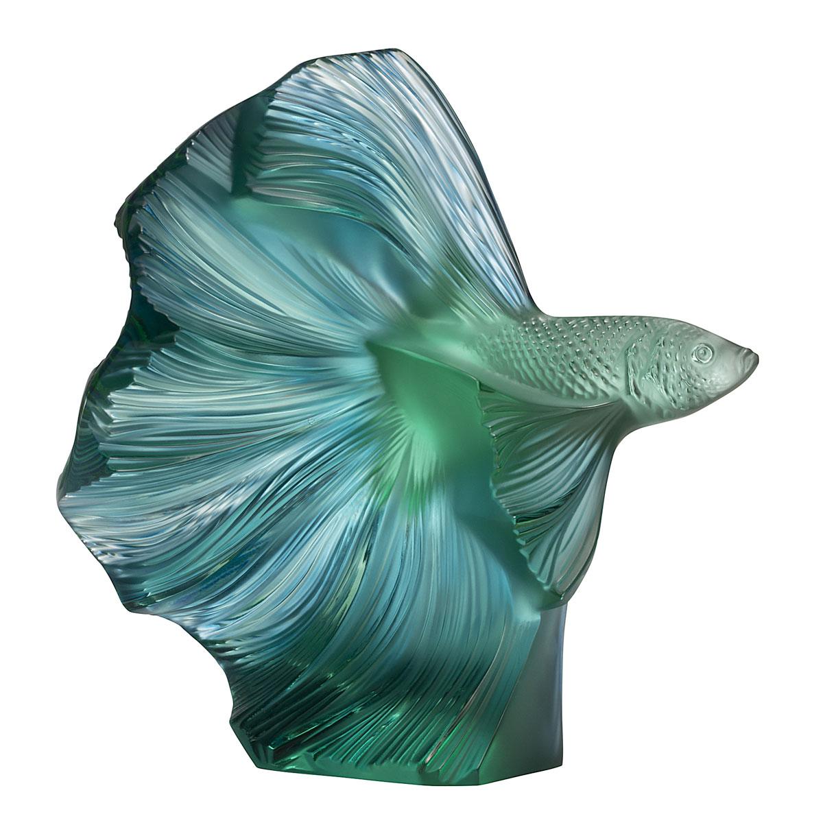 Lalique Fighting Fish Sculpture Aquatique, Mint Green and Blue Patinated