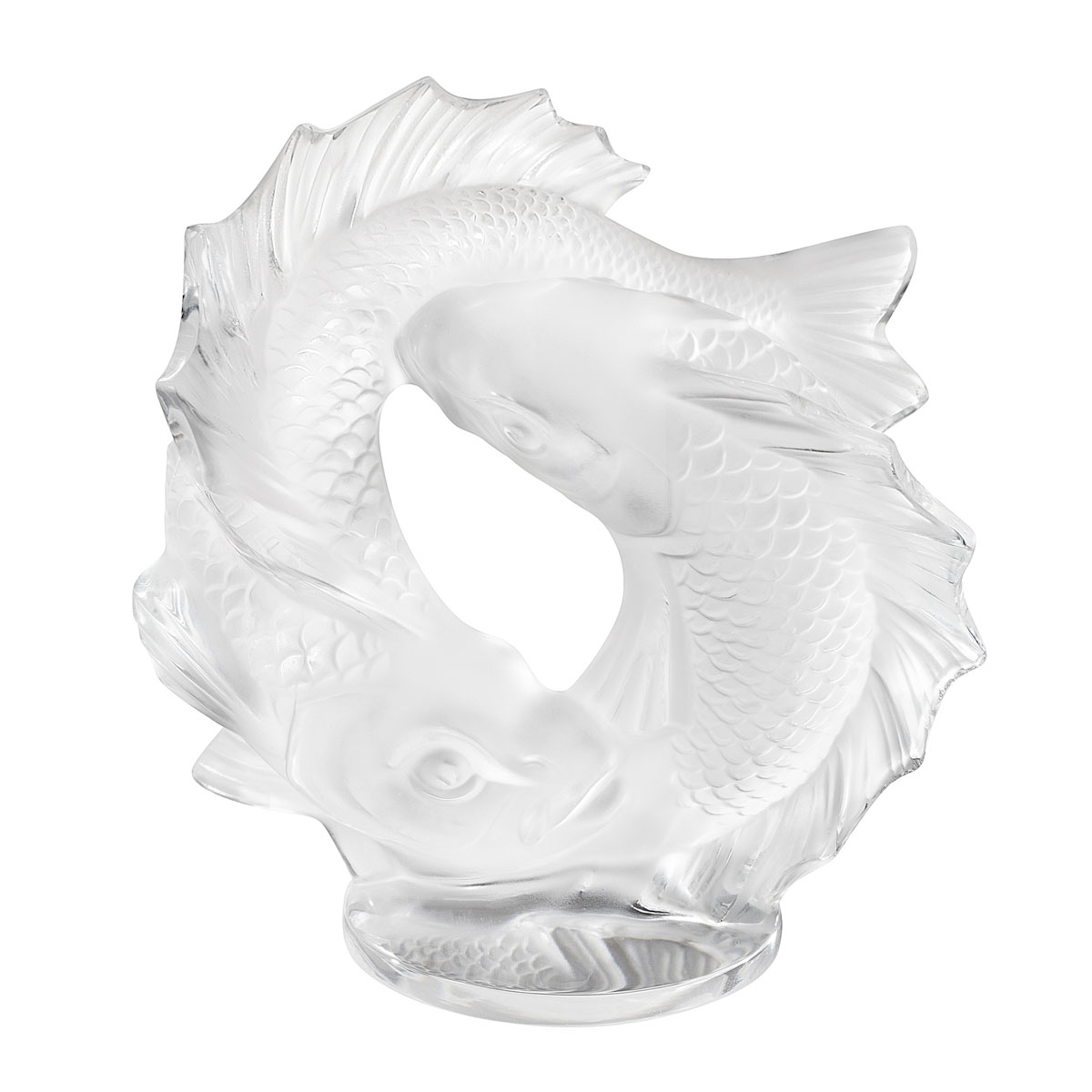 Lalique Double Fish Sculpture, Clear