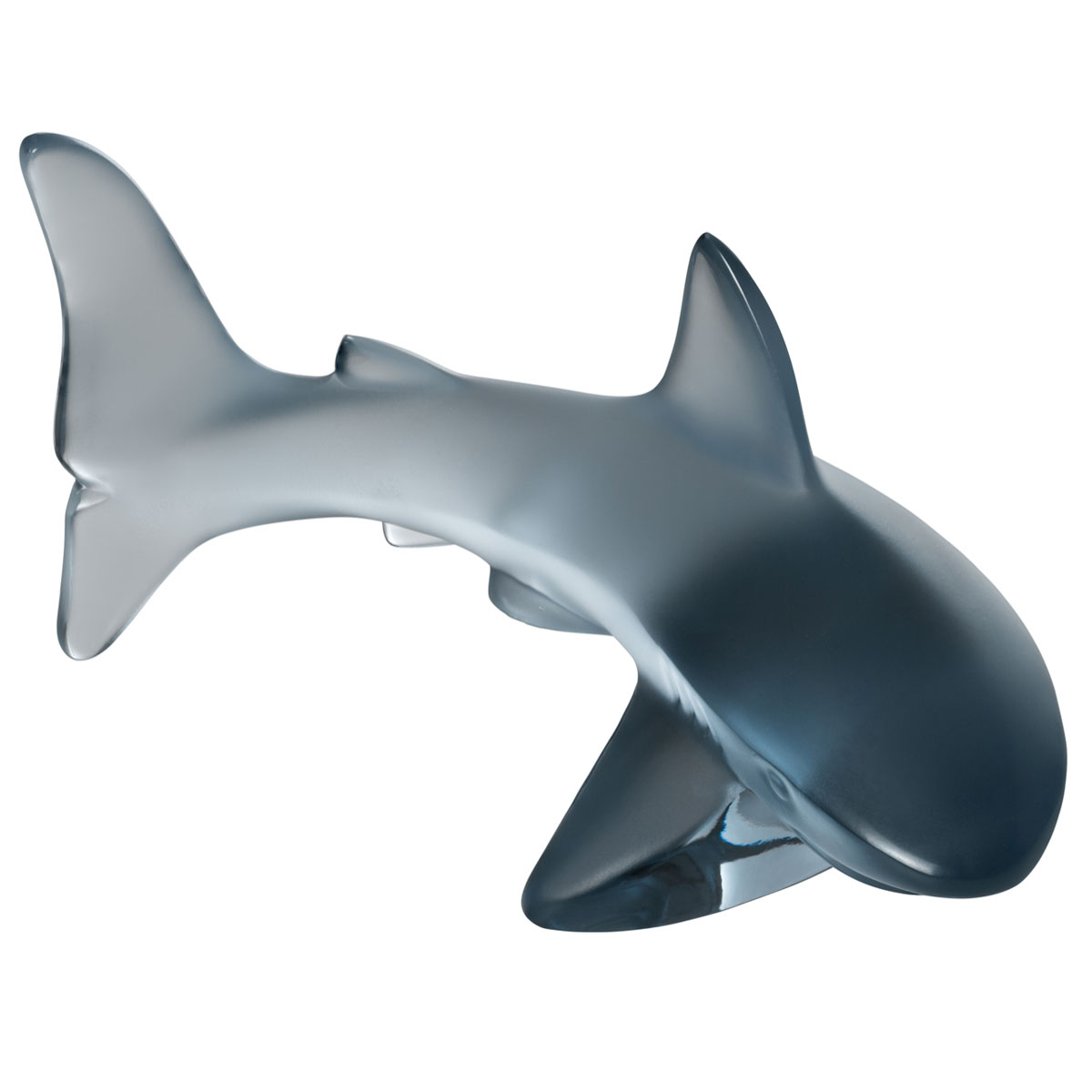 Lalique Small Shark Sculpture Aquatique, Persepolis Blue