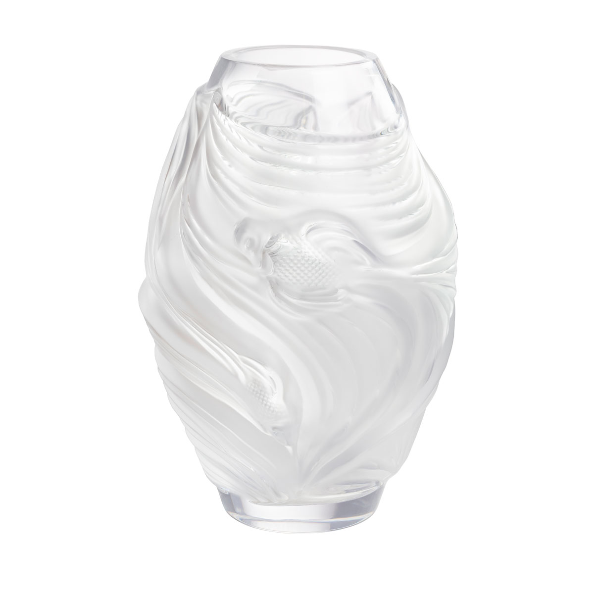 Lalique Poissons Combattants Small Vase, Clear