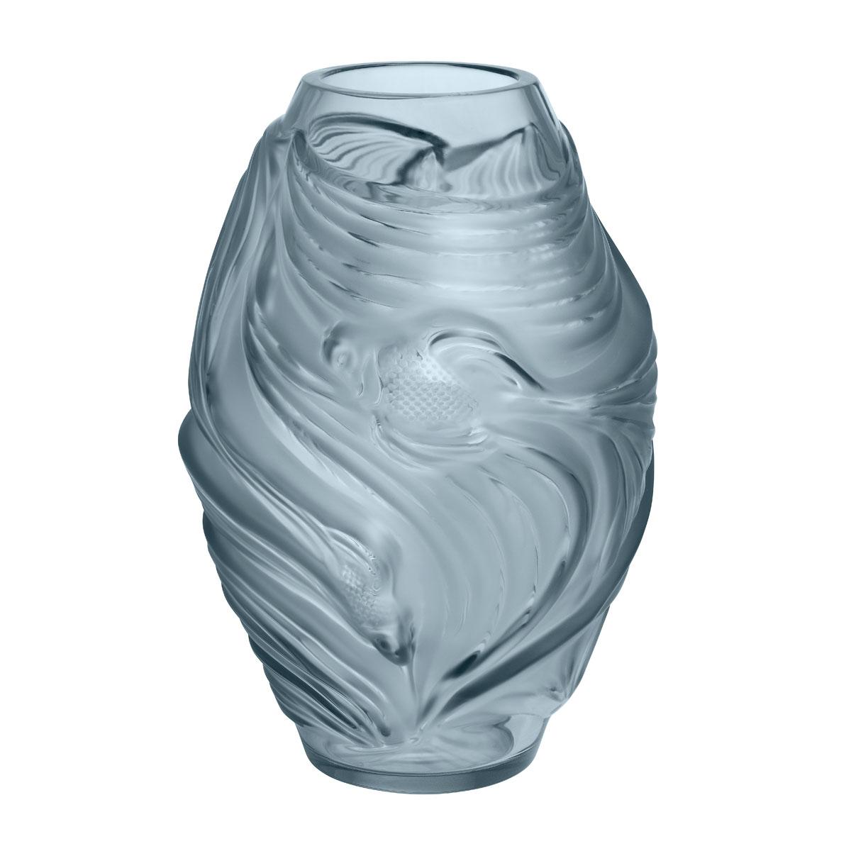 """Lalique Poissons Combattants 7"""" Vase, Persepolis Blue"""