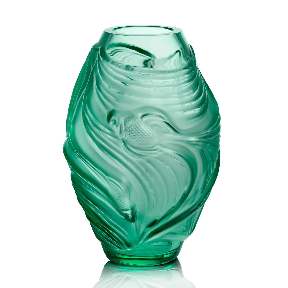 Lalique Poissons Combattants Small Vase, Mint Green