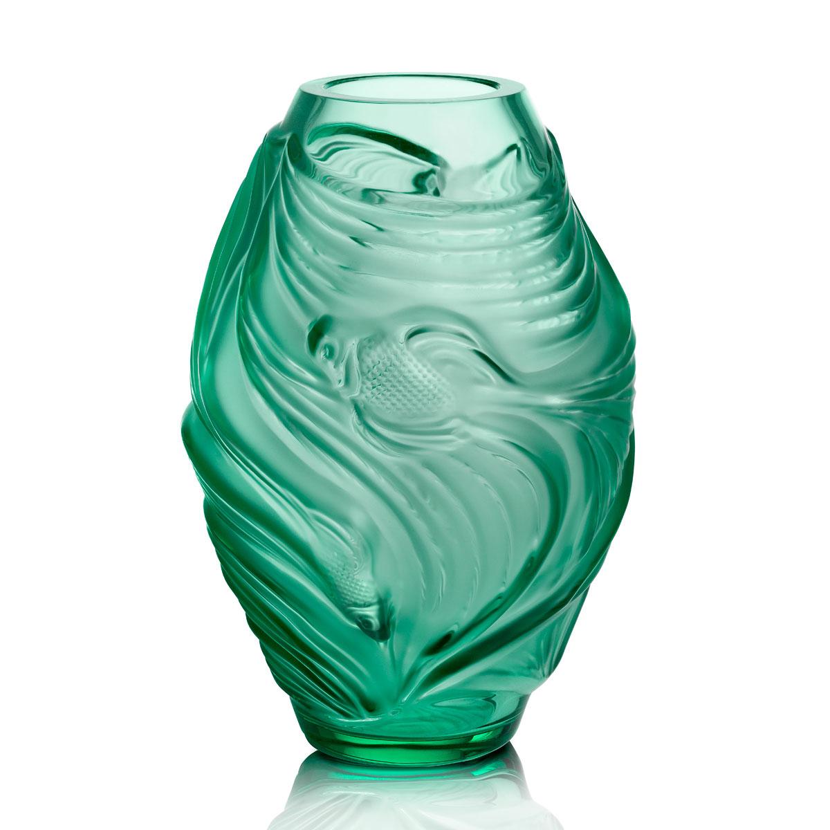 """Lalique Poissons Combattants 7"""" Vase, Mint Green"""
