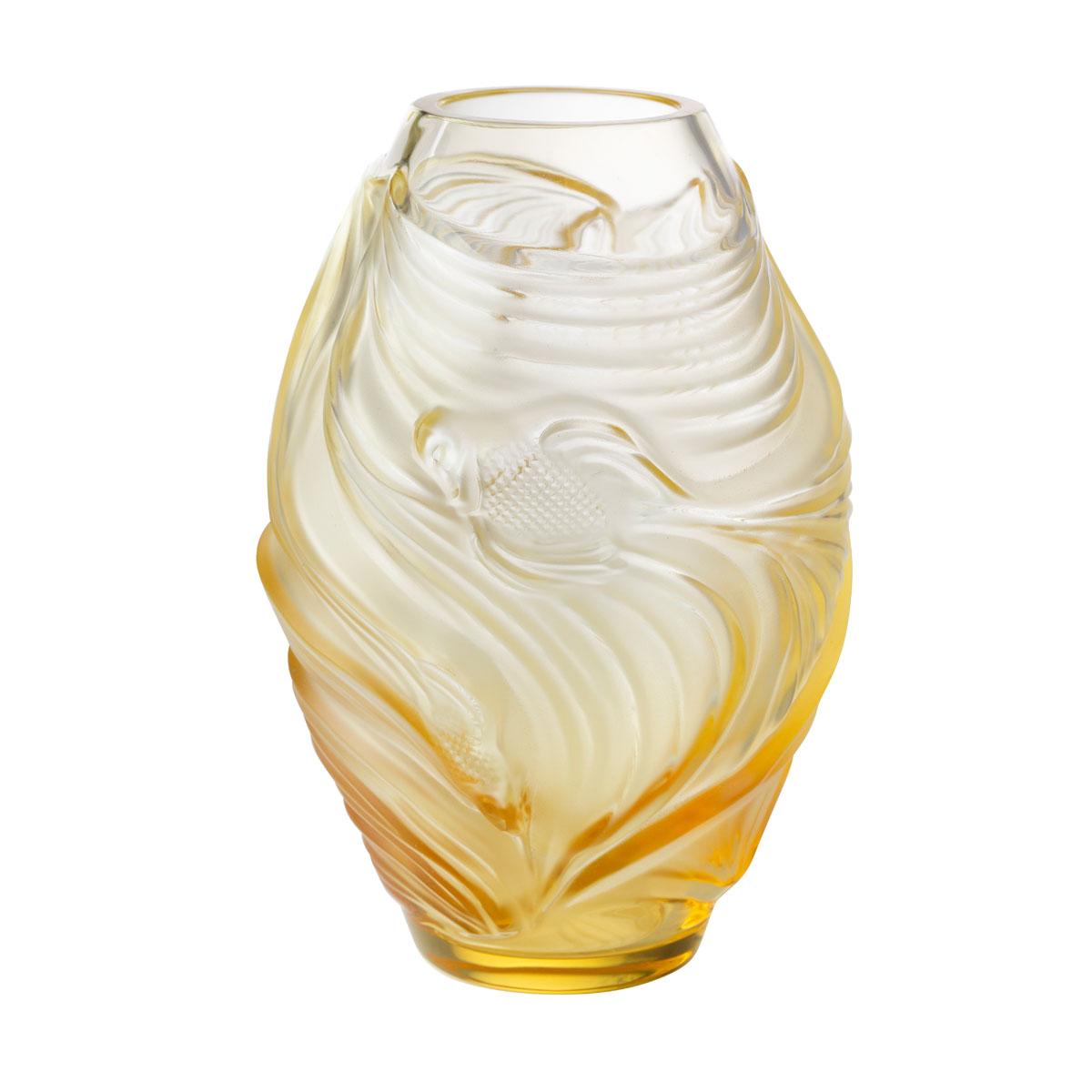Lalique Poissons Combattants Small Vase, Amber