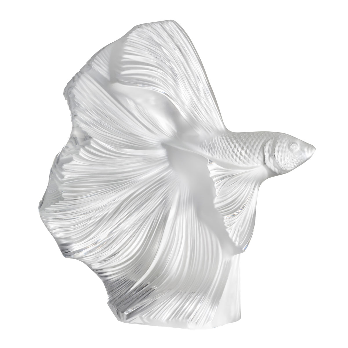 Lalique Fighting Fish Sculpture Large, Clear