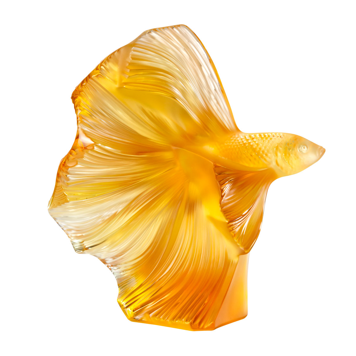 Lalique Fighting Fish Sculpture Large, Amber