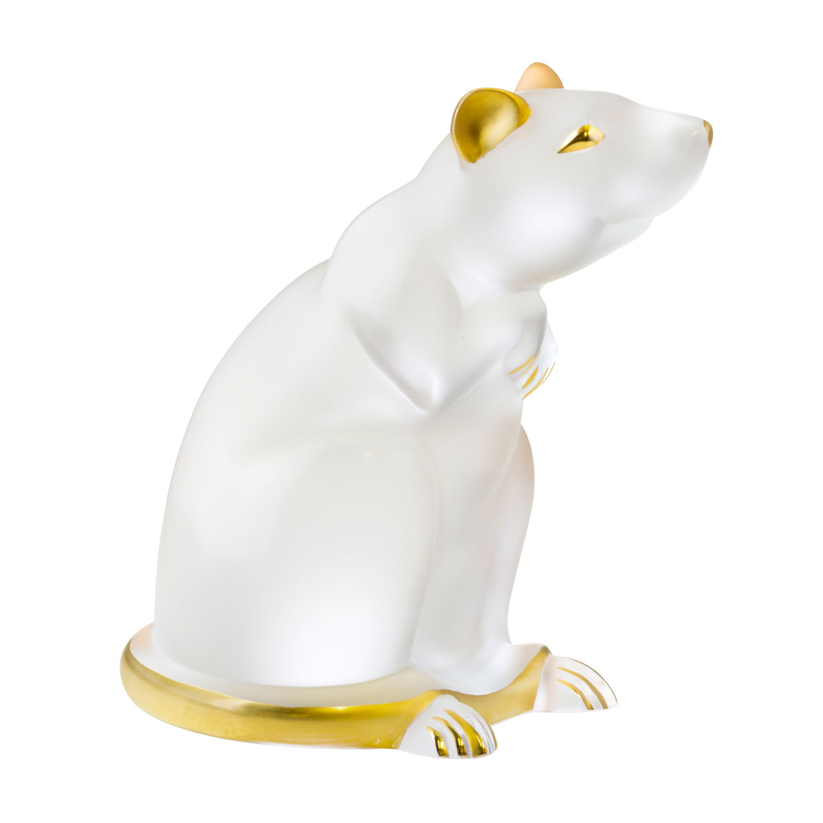 Lalique Zodiac Rat Sculpture, Clear and Gold Stamped