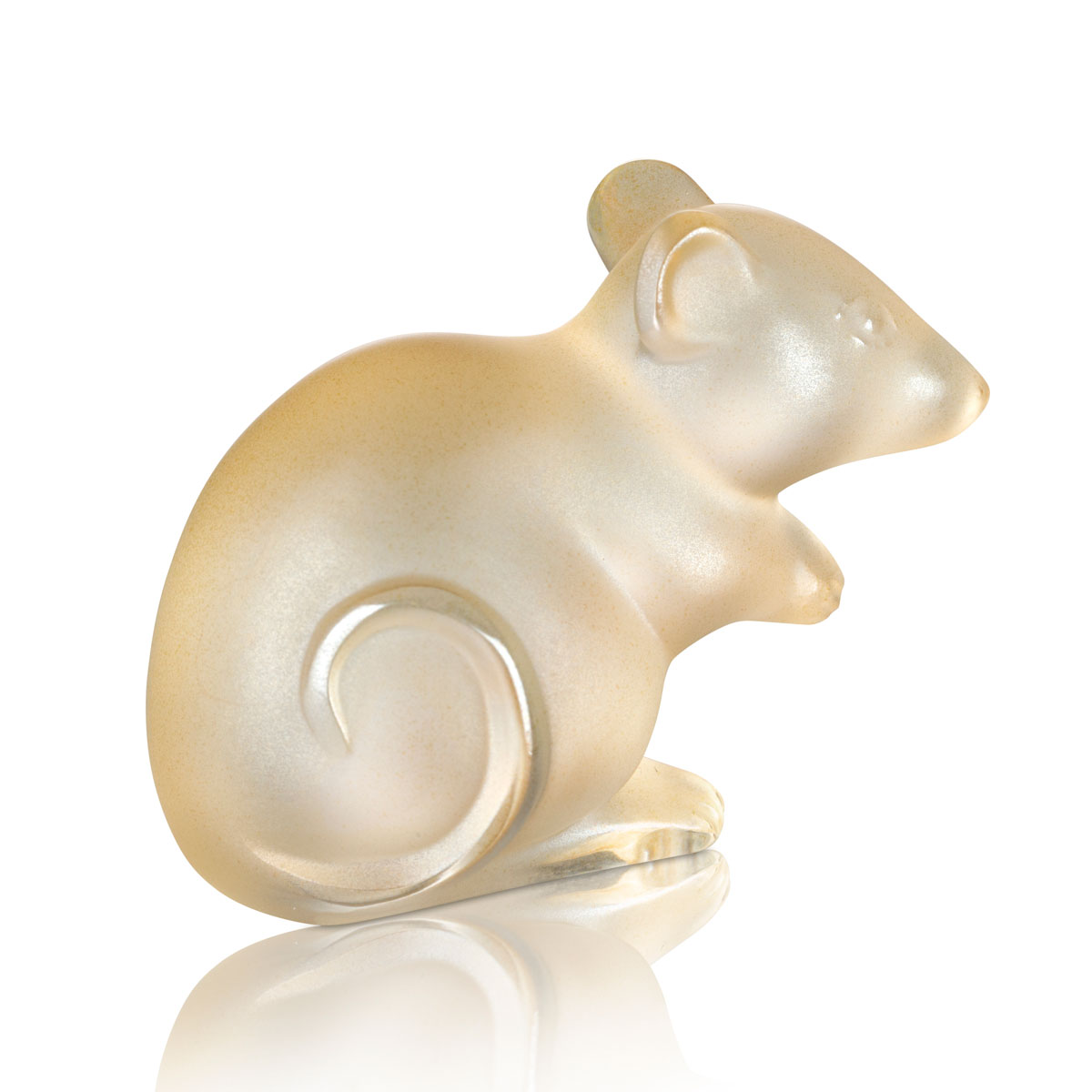 Lalique Mouse Sculpture, Gold Luster