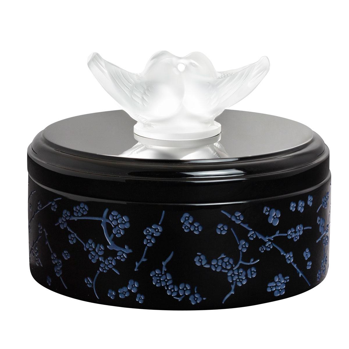 Lalique Fleurs De Cerisiers Lacquer Wood Box, Small