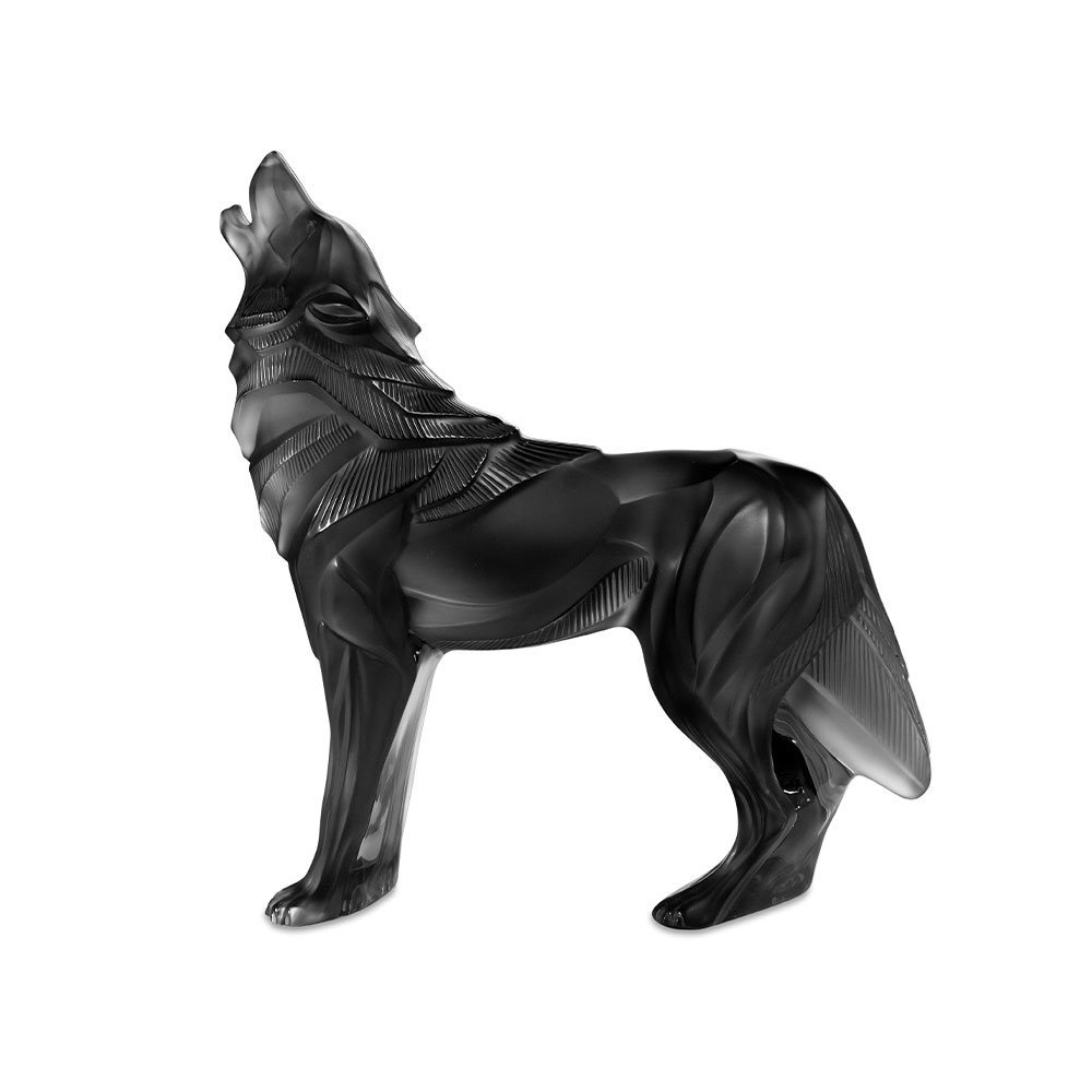Lalique Wolf Sculpture, Grey, Limited Edition