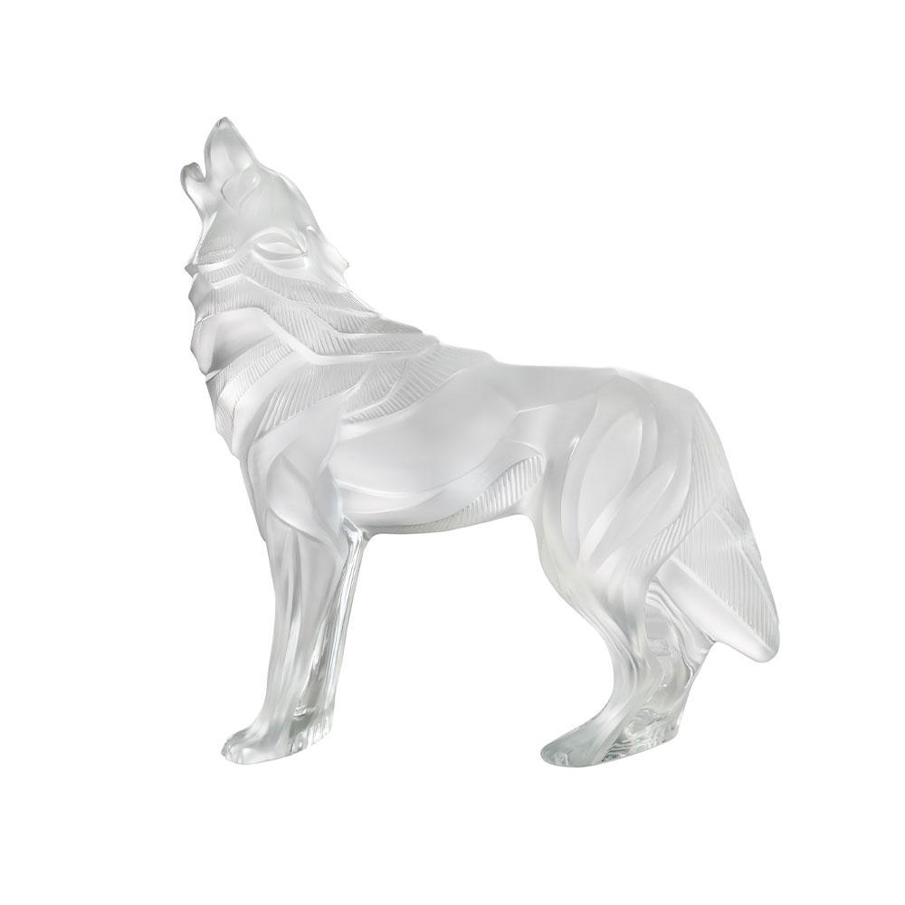 Lalique Wolf Sculpture, Clear
