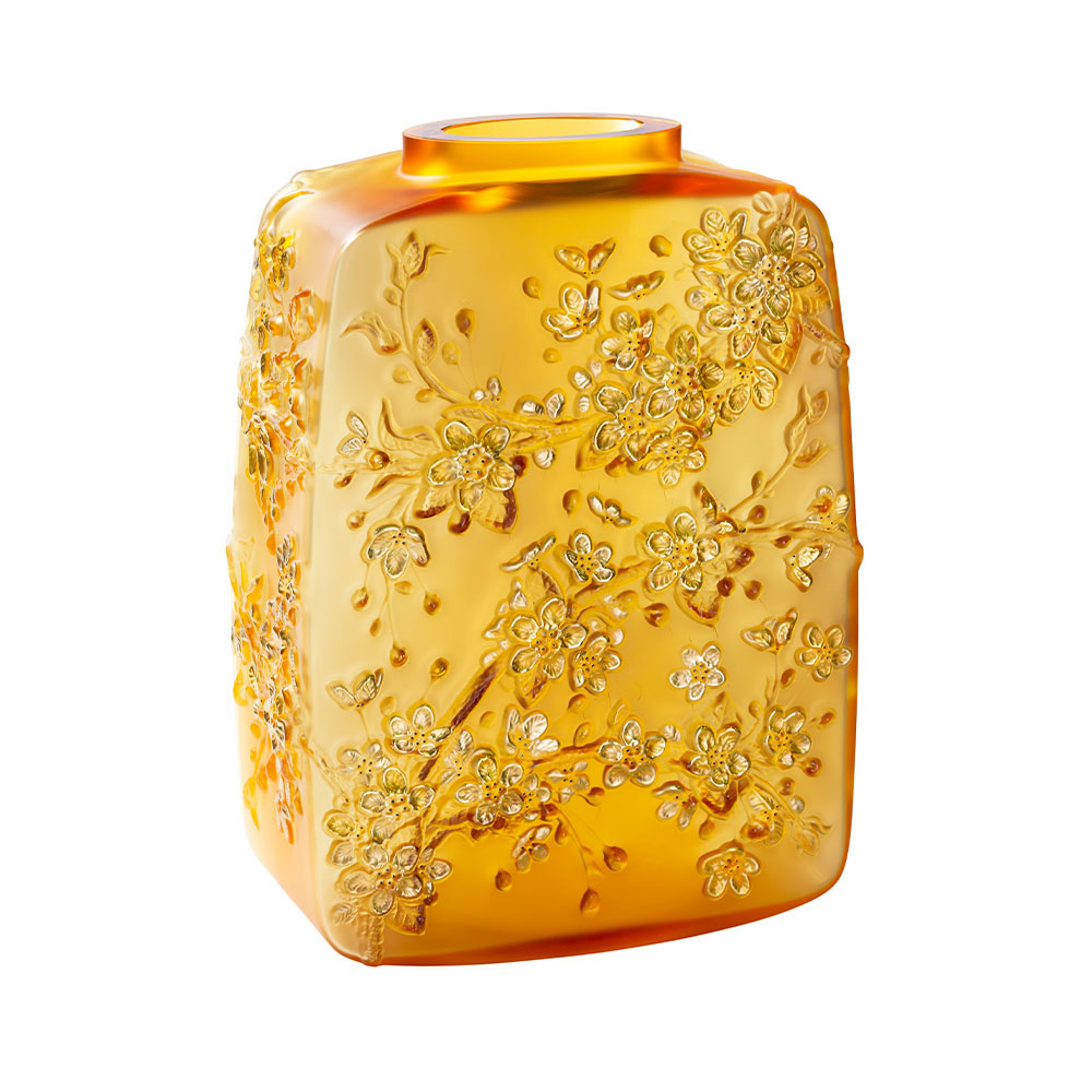 "Lalique Fleurs De Cerisiers Amber Gold Stamped 15.75"" Vase, Limited Edition"
