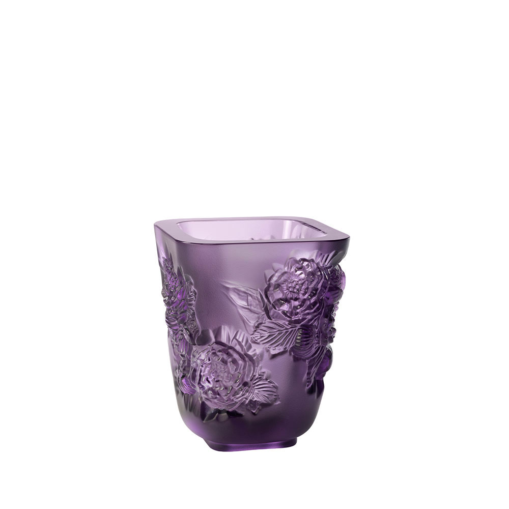 "Lalique Small Pivoines Purple 5.5"" Vase"