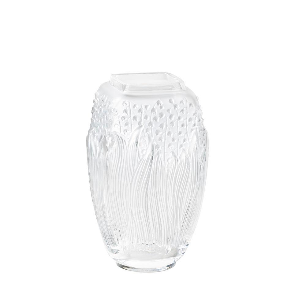 """Lalique Muguet 11.5"""" Vase, Clear"""