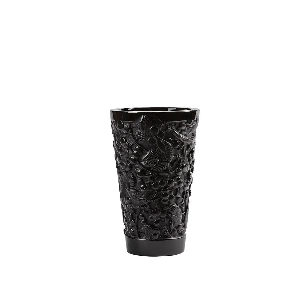 """Lalique Merles et Raisins Medium 8.75"""" Vase, Black"""