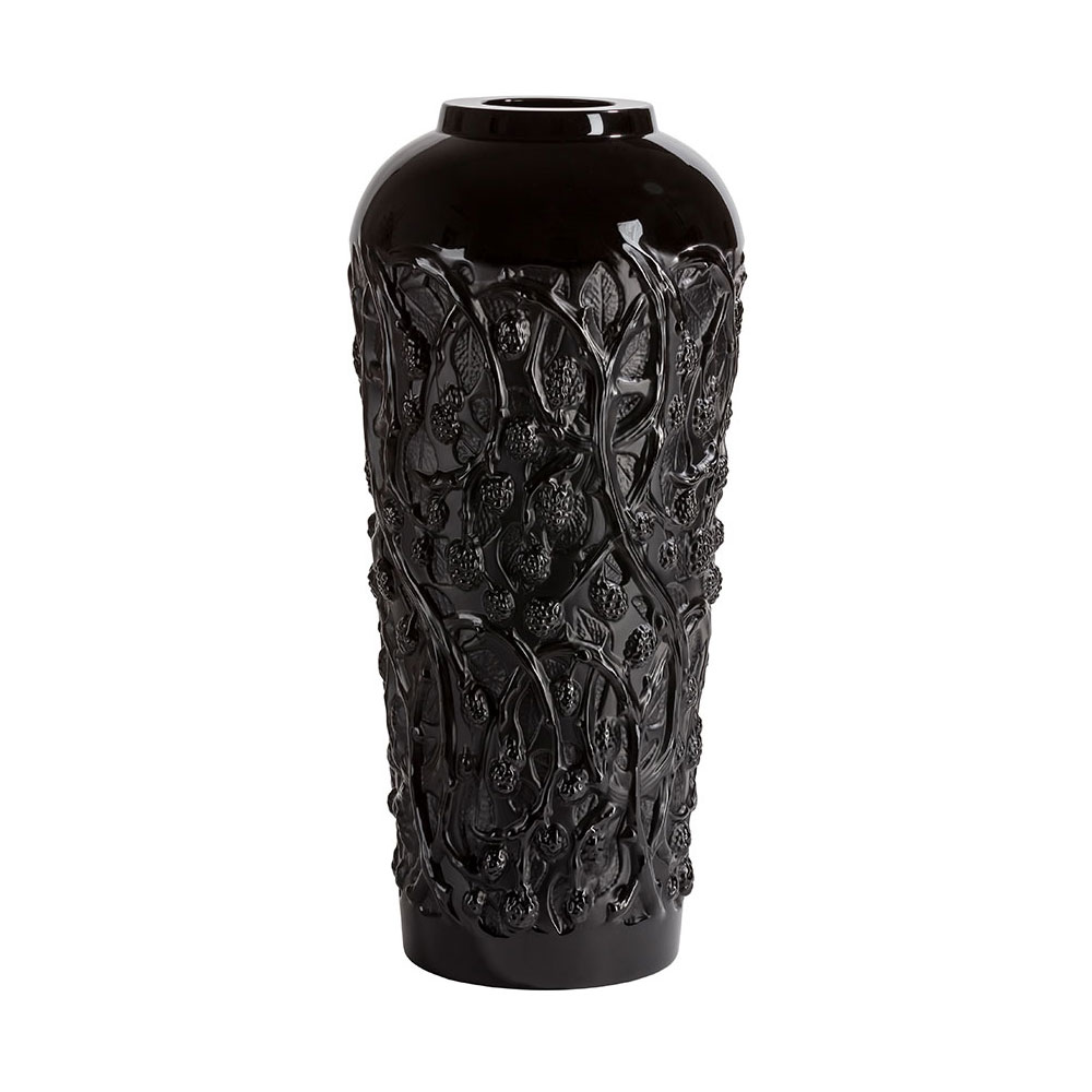 "Lalique Mures Large 20"" Vase, Black, Limited Edition"